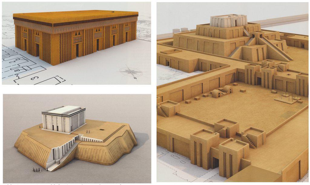 Eine Auswahl der 3D-Rekonstruktionen des URUK-Visualisierungsprojektes des DAI (Crüsemann u. a. (Hrsg.) 2013: Abb. 16.4, 16.9, 37.1).