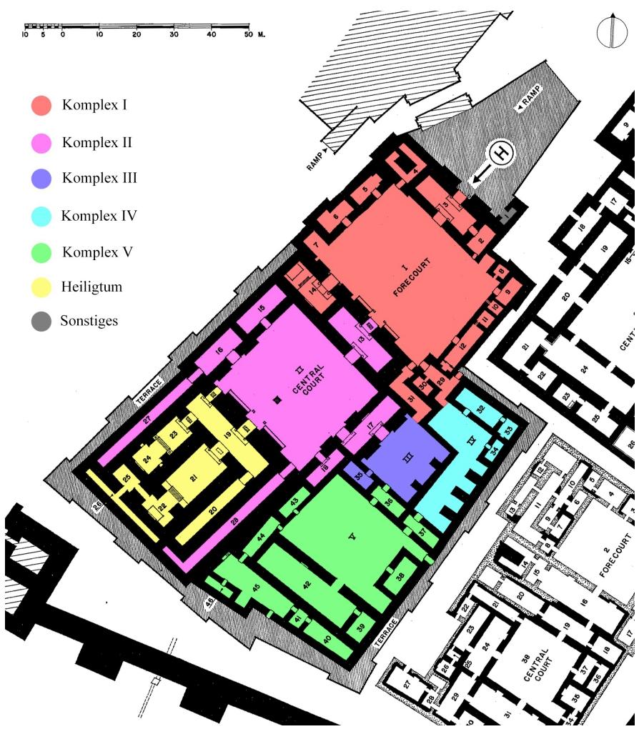 Plan des Nabu-Tempels und umliegender Strukturen ohne Residenz M (nach Loud - Altman 1938: Taf. 71).