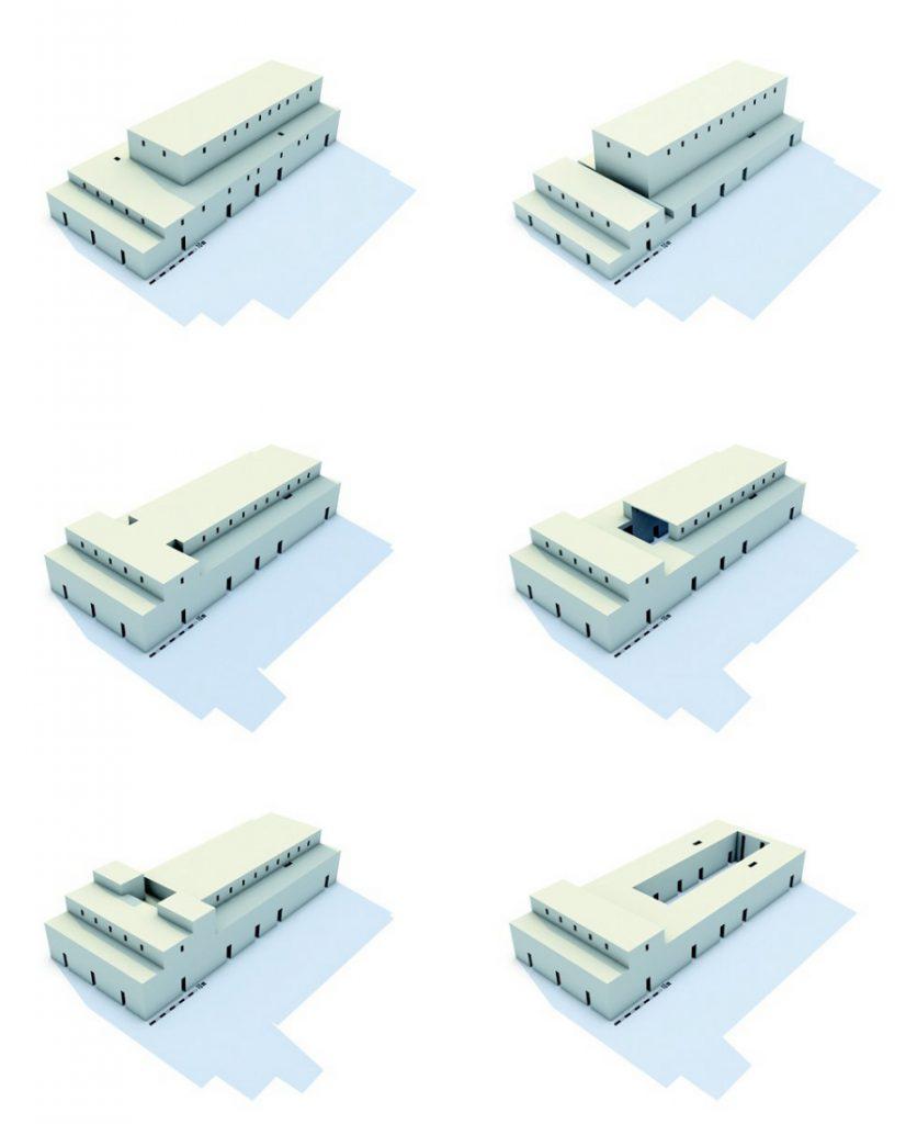 Variationen der Rekonstruktion von Gebäude C in Uruk (Deutsches Archäologisches Institut 2013: Unterschiedliche Massemodelle des Gebäudes C der späten Uruk-Zeit.).