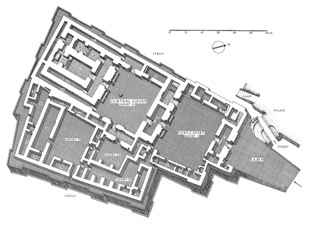 Isometrischer Plan des Tempels mit Ziegellage (Loud - Altman 1938: Taf. 79).