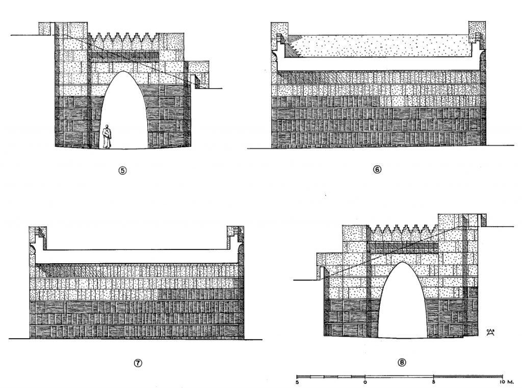 Die Brücke zwischen Palast- (höher) und Tempelterrasse (niedriger). Helle Blöcke sind rekonstruiert. Die Schnitte können Anhand der Nummern in Abb. 18 zugeordnet werden (Loud - Altman 1938: Taf. 81).