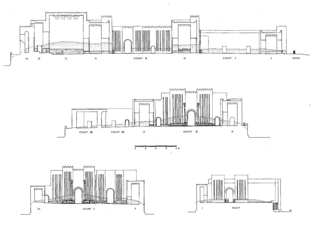 Orthogonale Ansichten der Fassaden und Raumschnitte; in schraffierten Linien ist die schwarze Sockelbemalung der Höfe dargestellt (Loud - Altman 1938: Taf. 85).