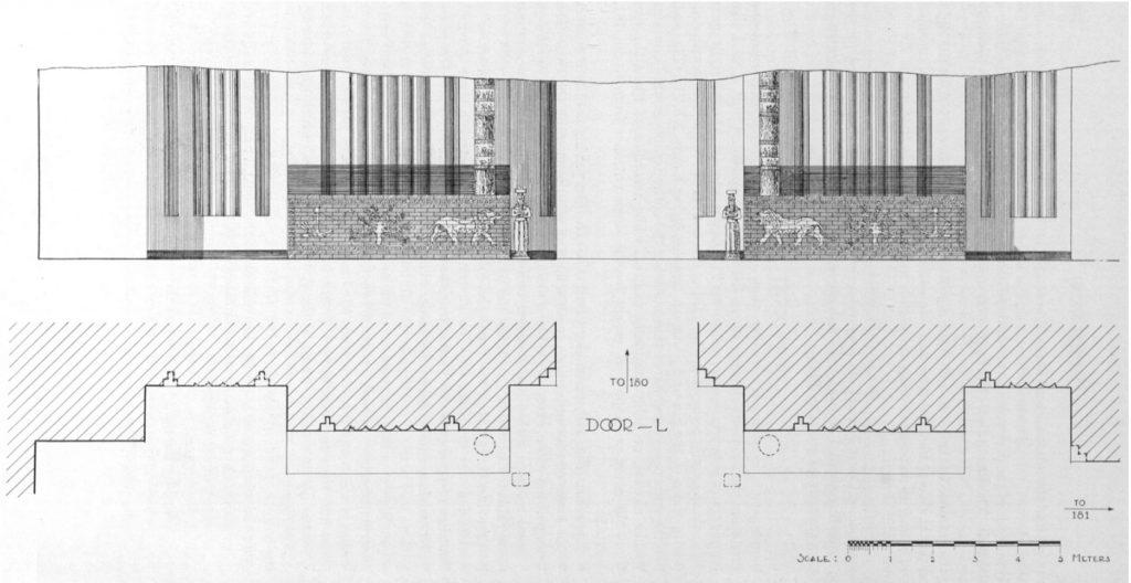 Fassade des Ningal-Tempels auf der Palast-terrasse, teilweise rekonstruiert (Loud 1936b: Abb. 115).