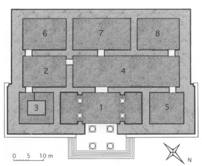 Rekonstruktionsvorschlag für das Monument X auf der Palast-Terrasse (Reade 2008: Abb. 14).