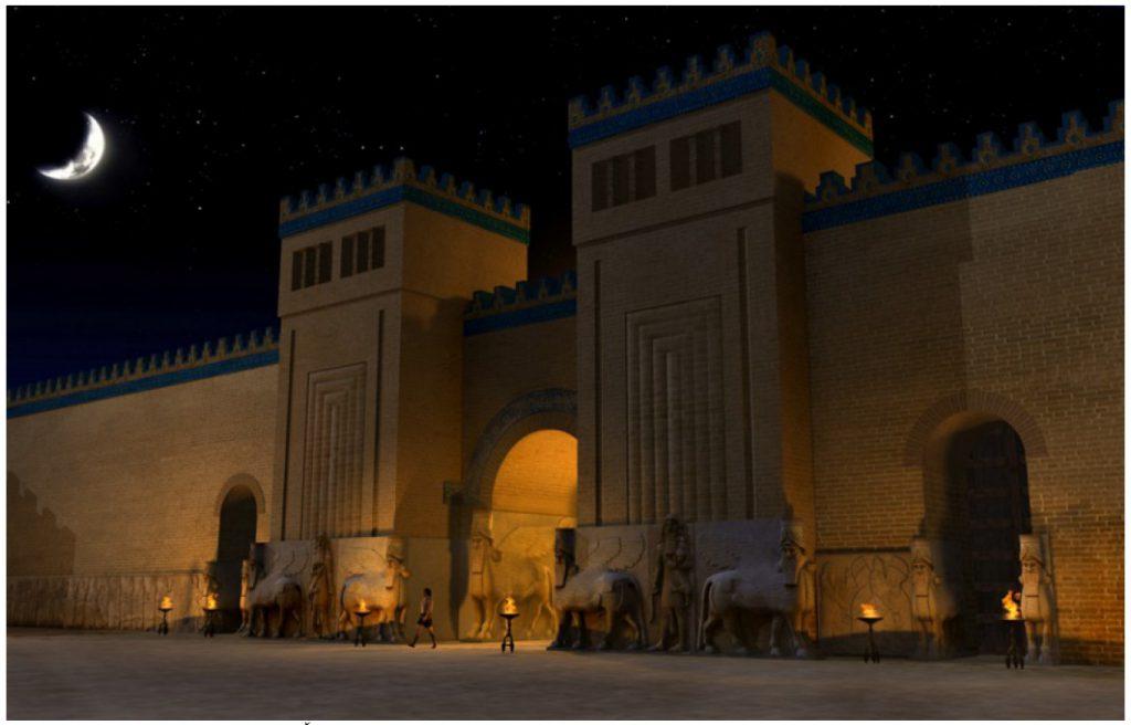 Rekonstruktion von Dur-Sharrukin, Sargons II. Palast, Hof VIII (Cultrano u. a. 2007: Abb. 6).