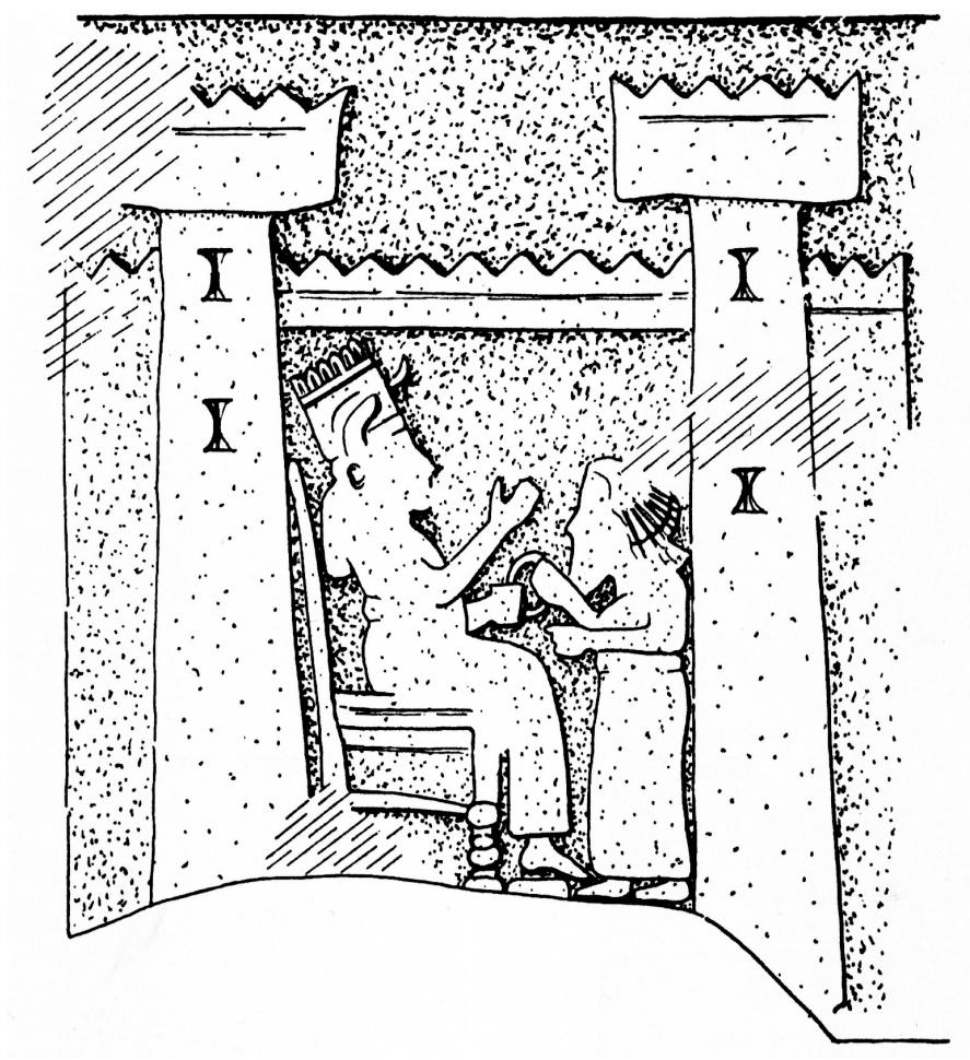 Detailansicht einer Tempelabbildung auf dem Weißen Obelisken (Herles 2006: Abb. 402).
