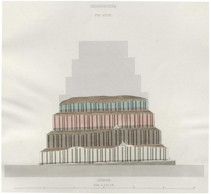 Zikkurat auf Palast-Terrasse mit zwei erhaltenen Lehmziegelzinnen (Place 1867b: Taf. 36).