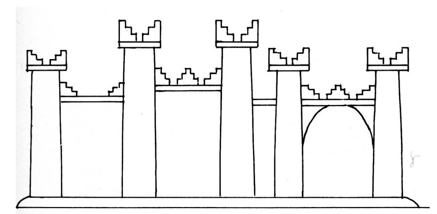 Abbildung eines neuassyrischen Palastes auf einem Bronzeband Assurnasirpals II. (Heinrich 1982 Abb. 339).
