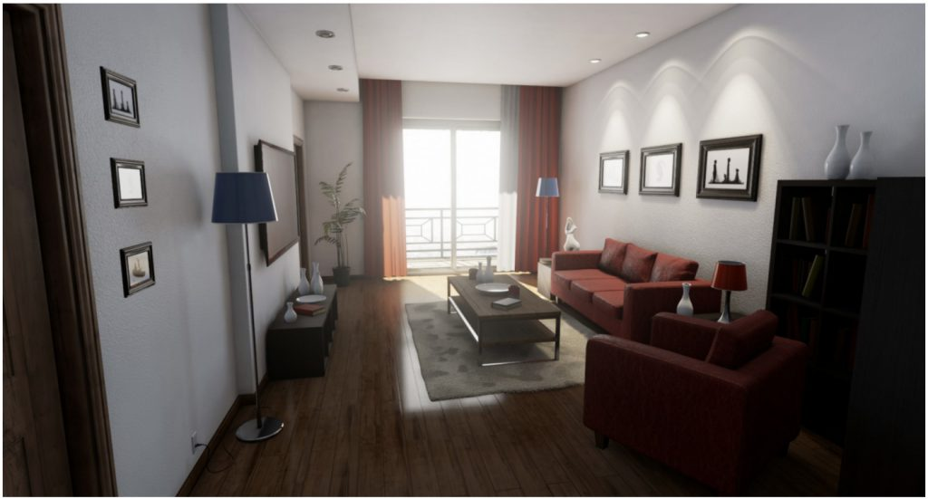 Eine Appartment-Szene in der Unreal-Engine 4 (Foto des Verfassers, Szene von Epic Games Inc.).