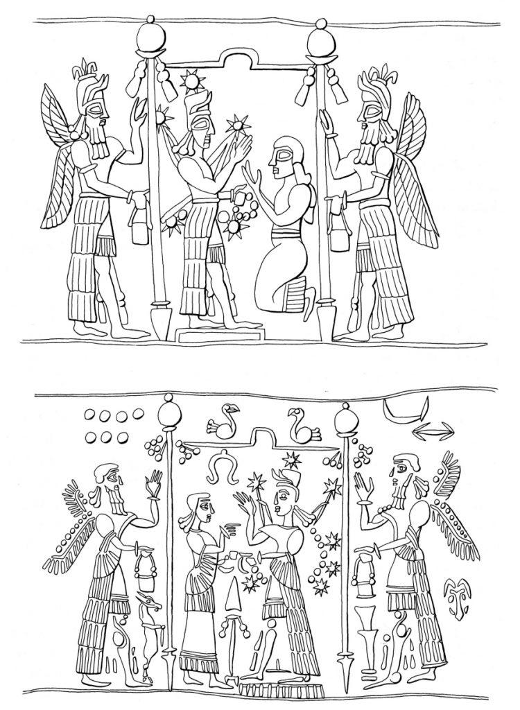 Siegelabrollungen mit Standarten im kultischen Kontext, neuassyrisch (Black - Green 1992: Abb. 49).