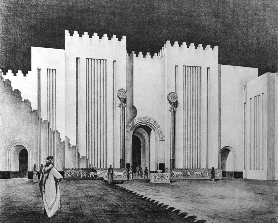 Rekonstruktionszeichnung der Fassade des Heiligtums (Loud - Altman 1938: Taf. 44).