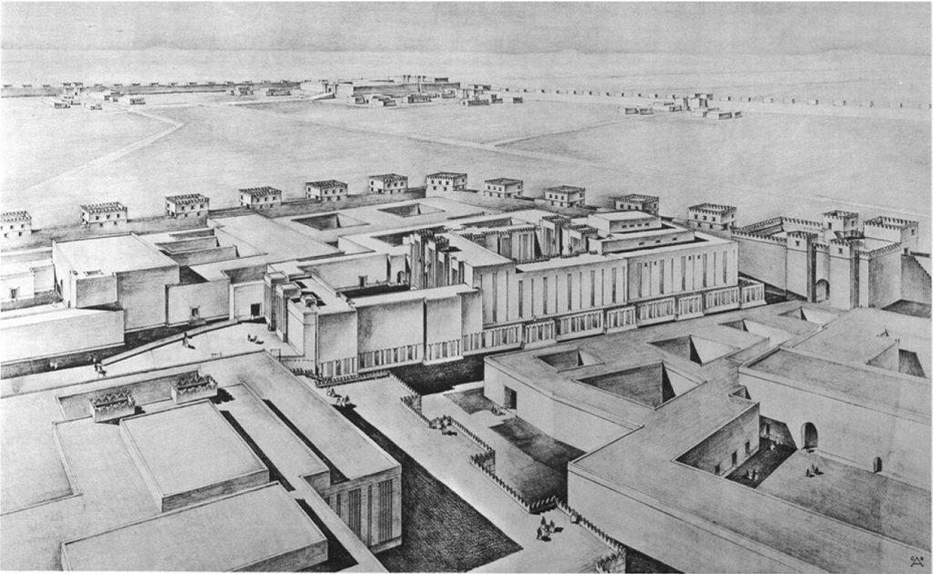 Perspektivische Rekonstruktionszeichnung des Tempels, von der Spitze des Tempelturms gesehen (Loud - Altman 1938: Taf. 2).
