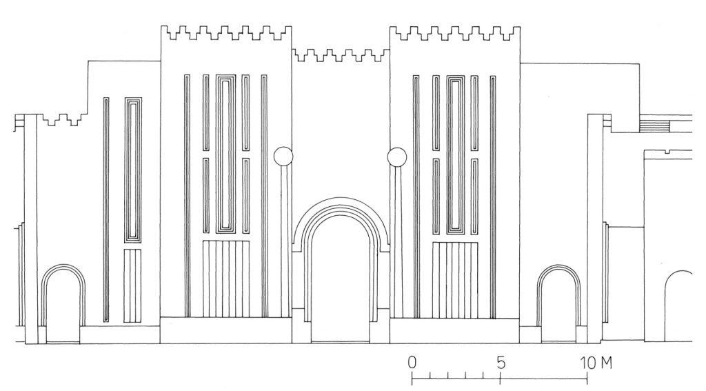 Rekonstruktion der Heiligtumsfassade nach dem Vorbild des seleukidischen Bit-Res (Heinrich 1982: 251 Anm. 24, Abb. 353, 442).