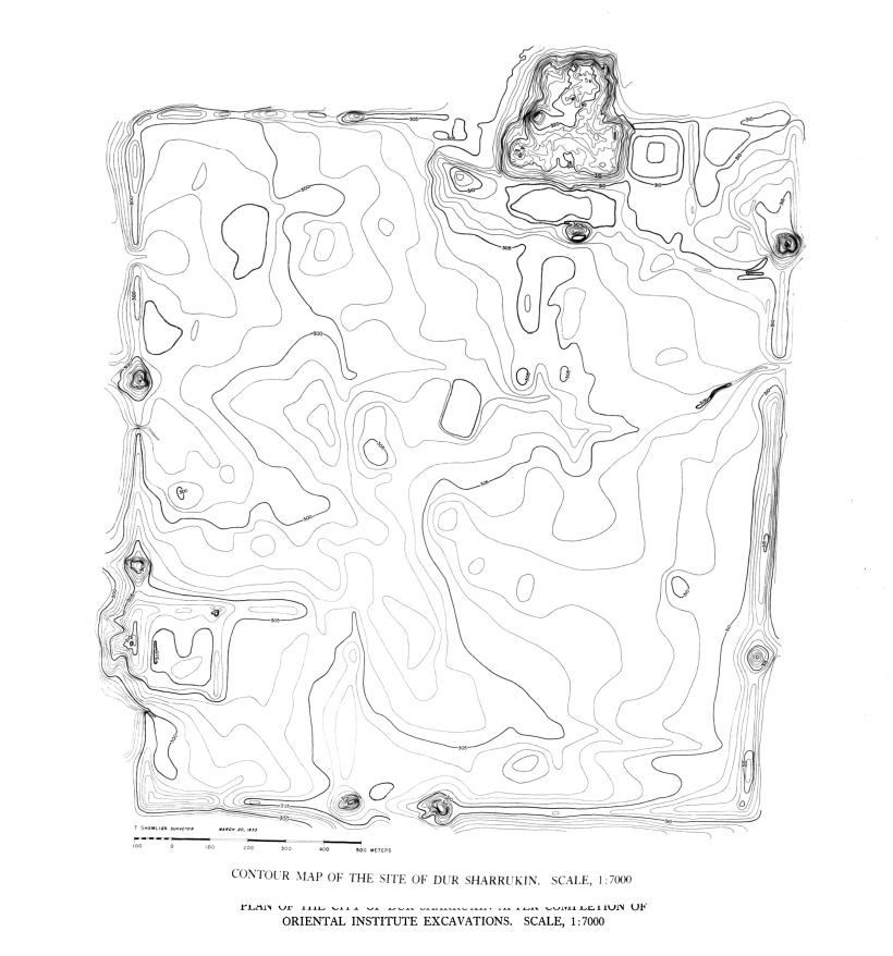 Höhenlinienplan der Anlage (Loud - Altman 1938: Taf. 68).