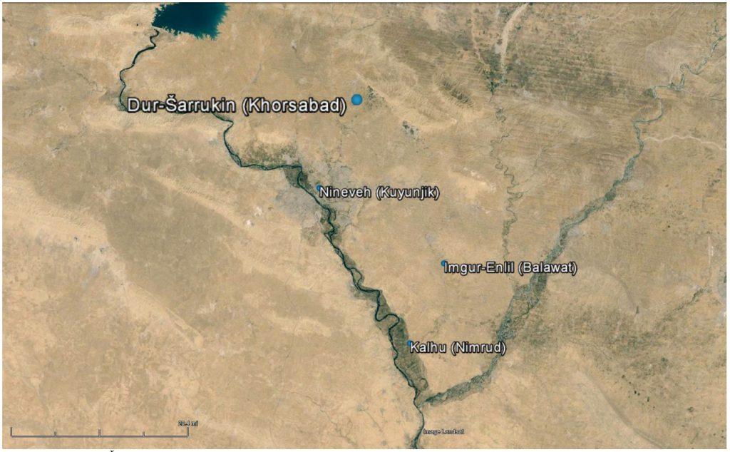 Lage Dur-Sharrukins im Kontext der umliegenden neuassyrischen Städte (Quelle: 36°17'27.66'' N und 43°24'16.03'' E. Google Earth. 10.04.2013. 18.07.2014).