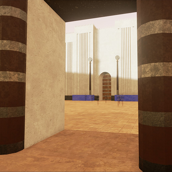 Virtual reconstruction; DS, Nabu-Temple, Room 3, facing south